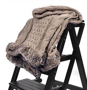 Luxurious Throw with Faux Fur Surging on Both Ends - AtHomeWithZane