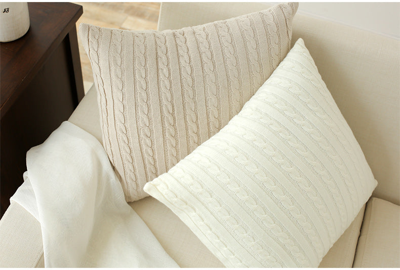 Double Cable Knit Pattern Pillowcase Slipcover - AtHomeWithZane