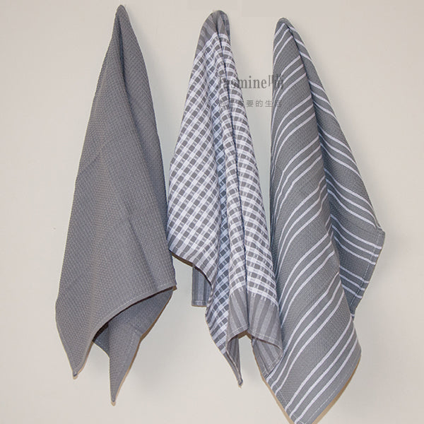 "William Sonoma ""Inspired"" Grey Kitchen Towels Three Piece Set - AtHomeWithZane"