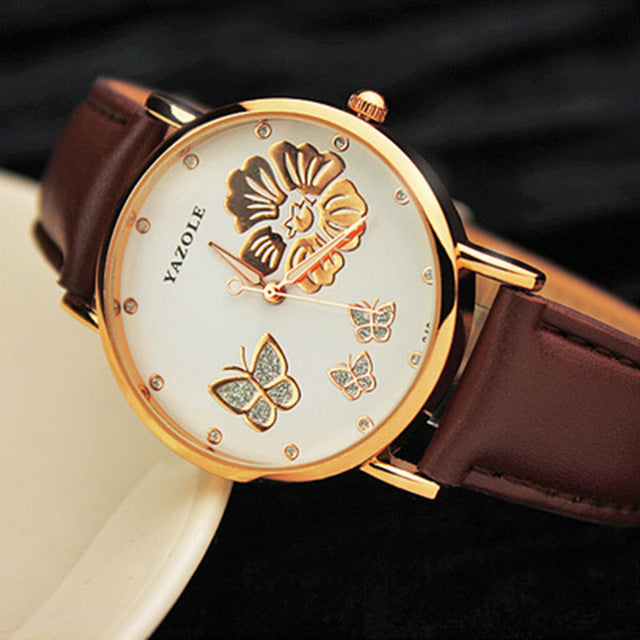 Butterfly Flower Leather Quartz Watch - Several Colors to Choose From - AtHomeWithZane