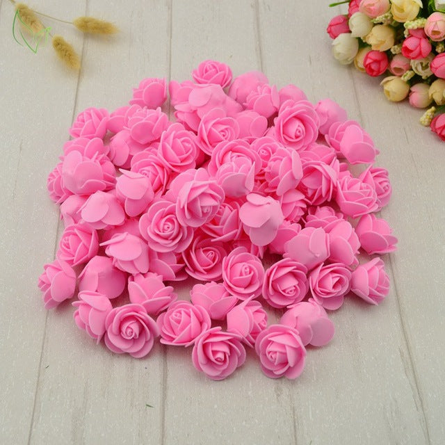 100 Piece PE Foam Faux Rose Heads - Many Colors to Choose From - AtHomeWithZane