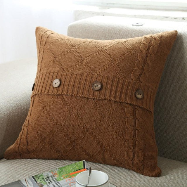 Cozy Knitted Button Pillowcase Slipcover - Multiple Color Options - AtHomeWithZane
