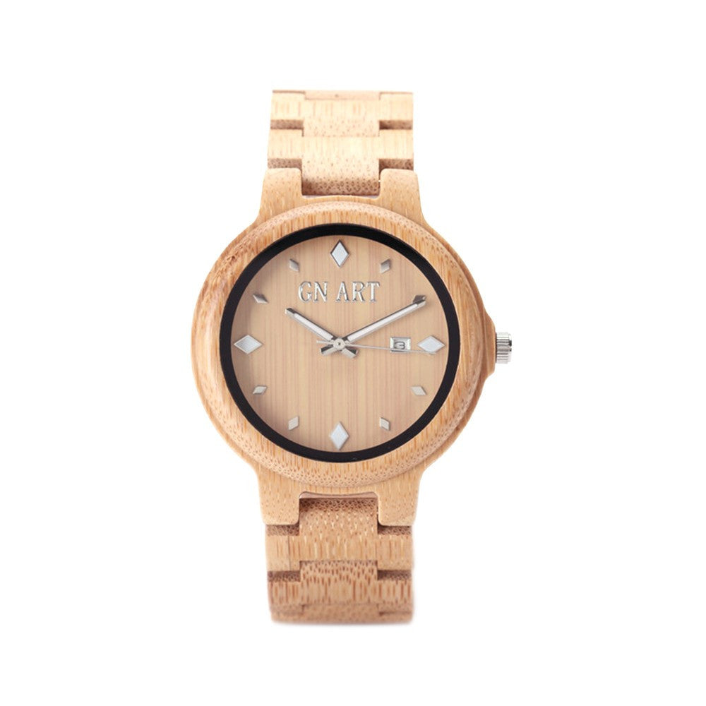 Men's Natural Bamboo Quartz Watch with Bracelet Clasp - AtHomeWithZane