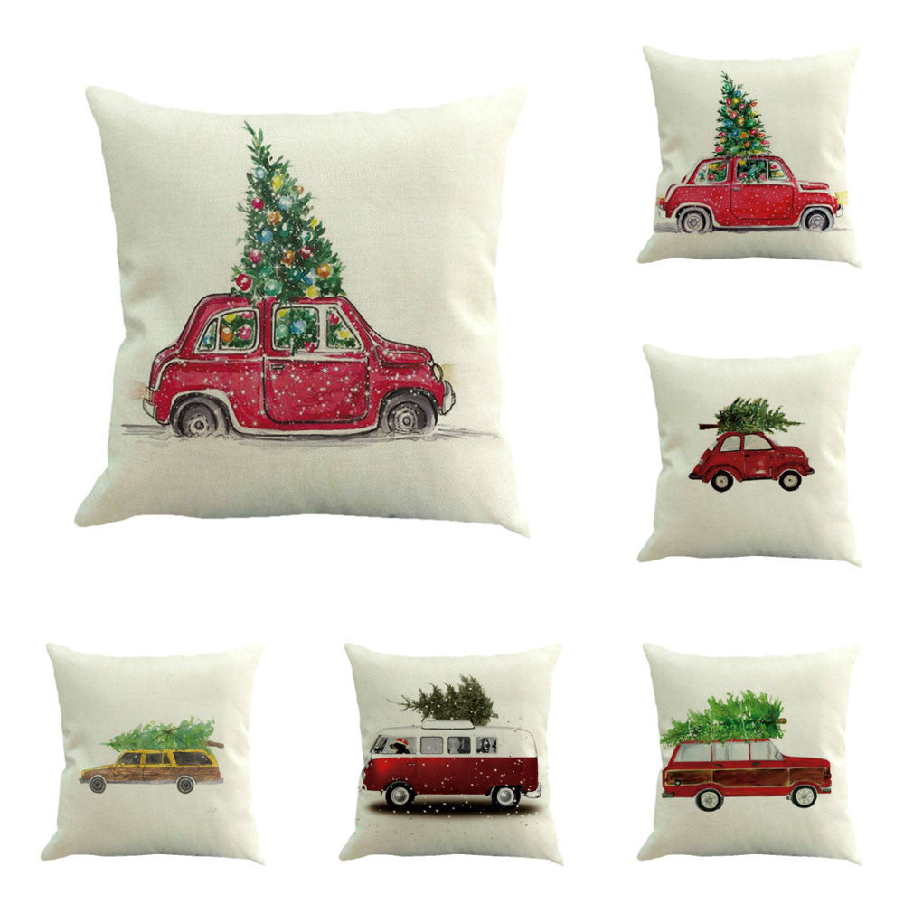 Winter Pillowcase Slipcover Wintry Car Scenes - AtHomeWithZane