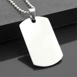 Sophisticated Designer Men's Military/Army Style Stainless Steel Dog Tag and Chain - AtHomeWithZane