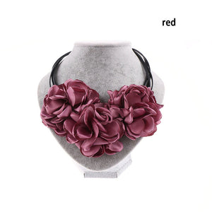 Fashion Bohemian Fabric Rose Flower Choker Necklace - Several Colors - AtHomeWithZane
