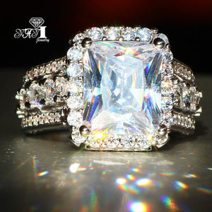 Stunning Princess Cut 7.9  CT White Cubic Zirconia  Ring - AtHomeWithZane