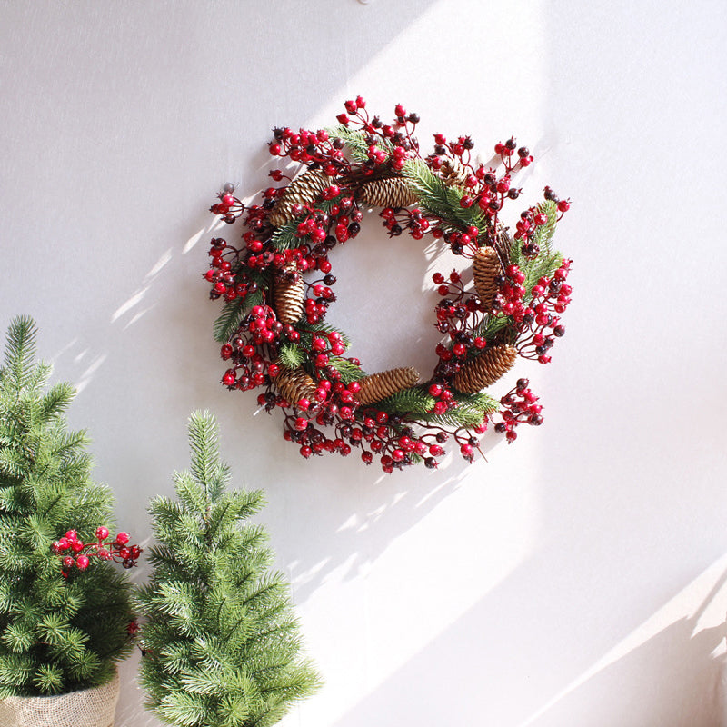 Winterberry Wreath with Pinecones - AtHomeWithZane
