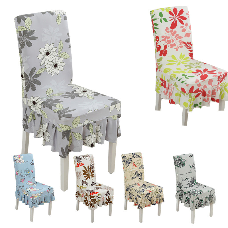 Spandex Floral Pattern Ruffled Dining Chair Slipcovers - AtHomeWithZane