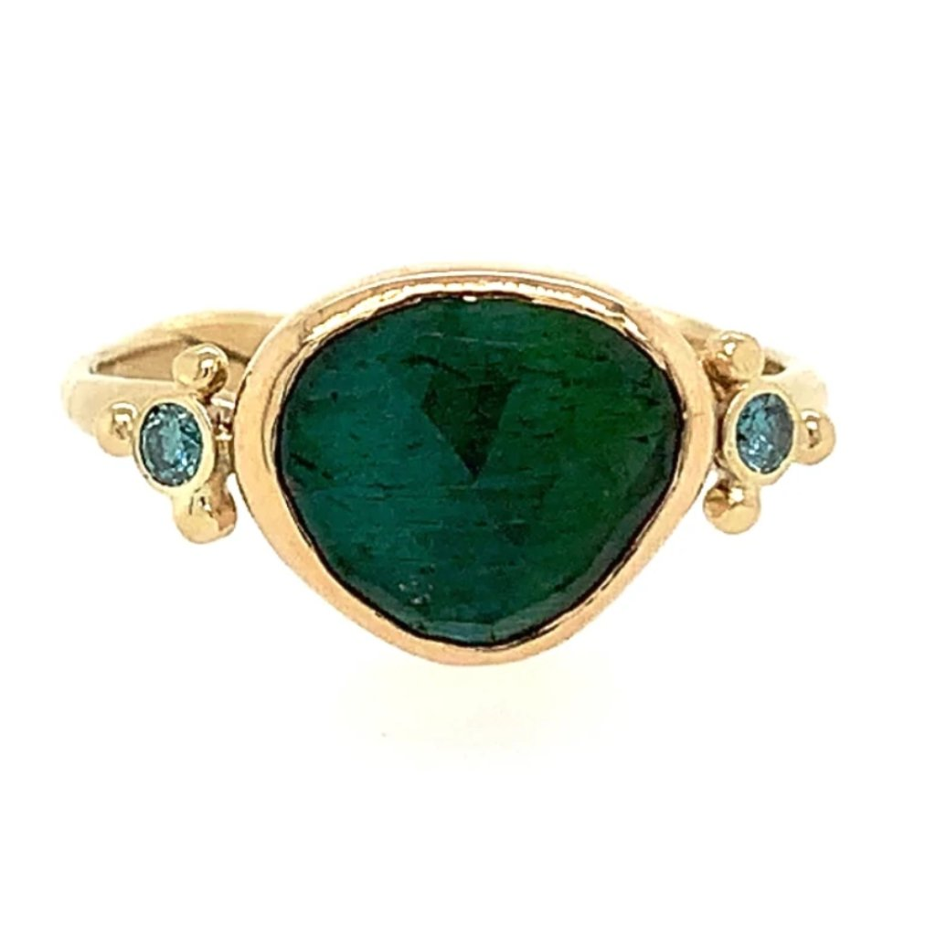14K GREEN TOURMALINE WITH BLUE DIAMONDS