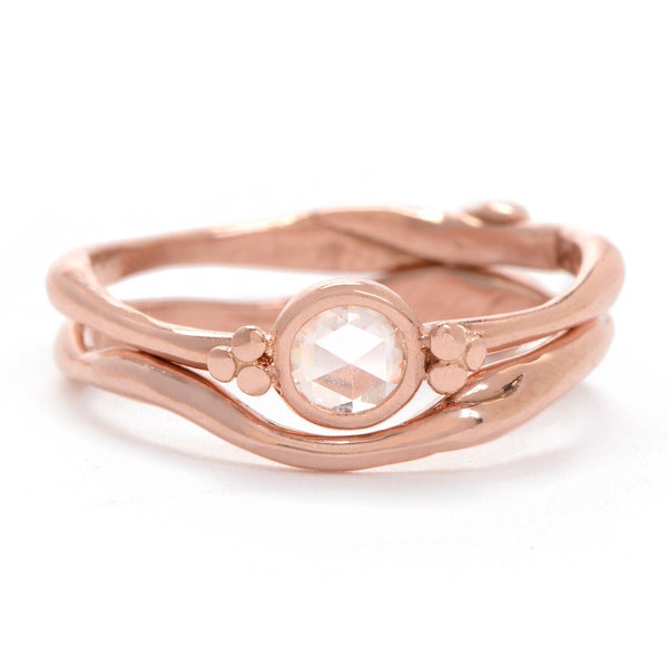 ROSEGOLD SEAGRASS BAND WITH ROSECUT DIAMOND - Emily Amey Handmade one of a kind jewelry Hudson Valley New York.