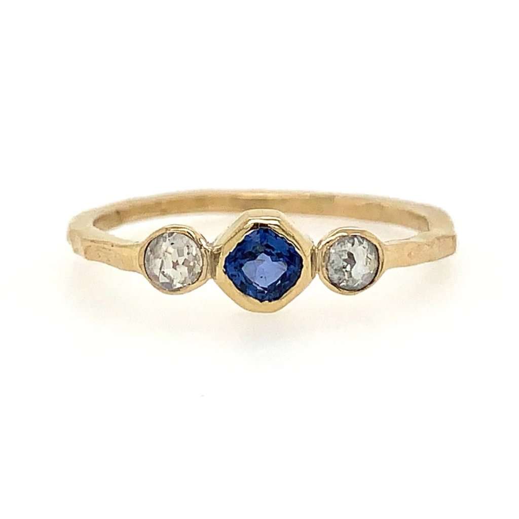 14K CEYLON SAPPHIRE AND NATURAL DIAMONDS