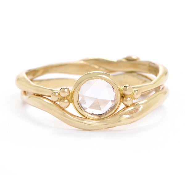 14K SEAGRASS RING WITH ROSECUT DIAMOND - Emily Amey Handmade one of a kind jewelry Hudson Valley New York.