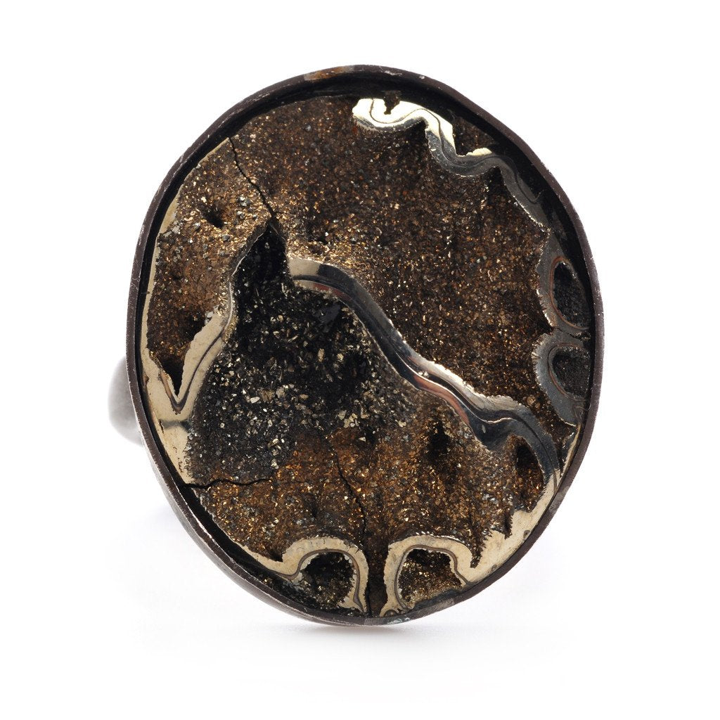 OXIDIZED SS AMMONITE RING