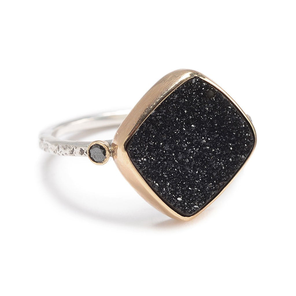 BLACK DRUZY WITH DIAMONDS RING