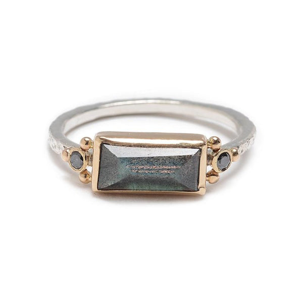 14K SS BAGUETTE LABRADORITE WITH BLACK DIAMONDS RING - Emily Amey Handmade one of a kind jewelry Hudson Valley New York.