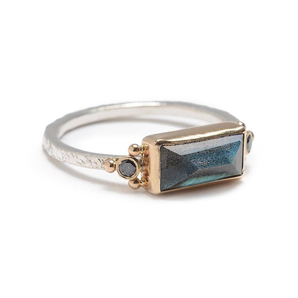 BAGUETTE LABRADORITE WITH BLACK DIAMONDS RING