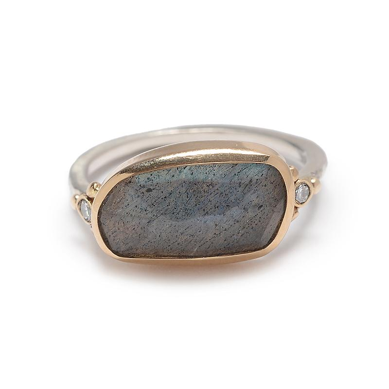 ROSECUT LABRADORITE WITH DIAMONDS RING