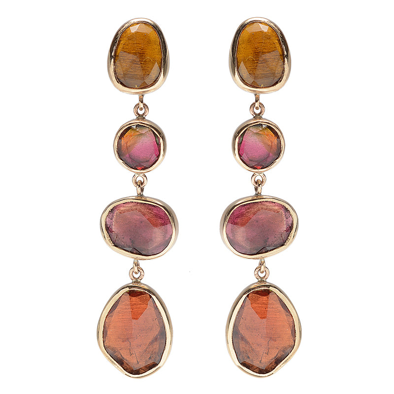 14k ORANGE AND PINK TOURMALINE DROPS