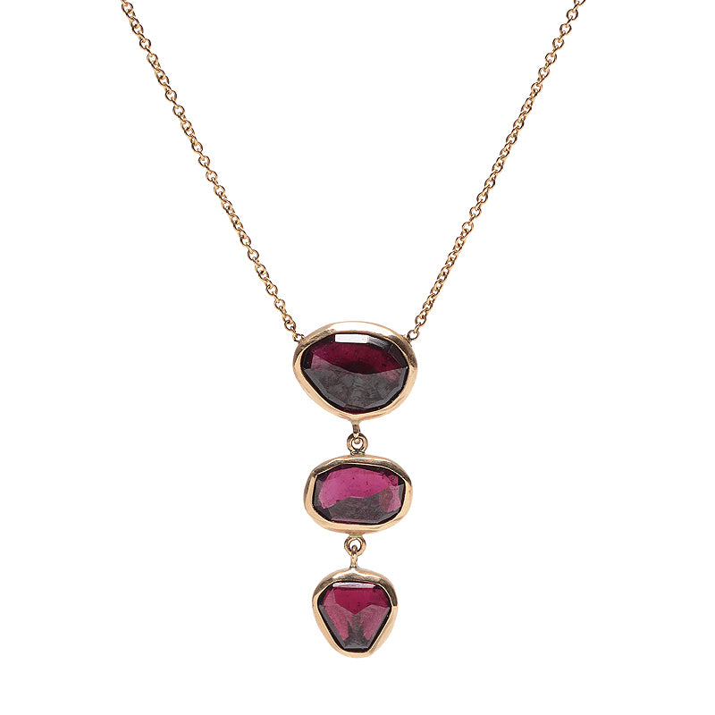 TRIPLE DROP PINK TOURMALINE NECKLACE
