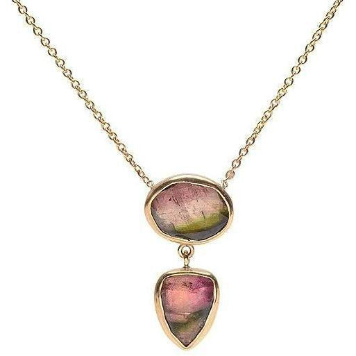 14K DOUBLE WATERMELON TOURMALINE - Emily Amey Handmade one of a kind jewelry Hudson Valley New York.