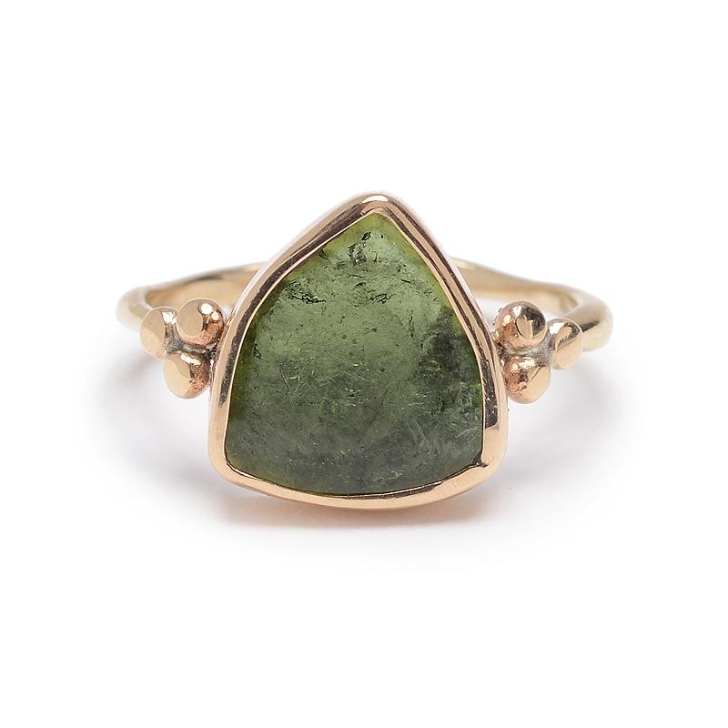 14k Green Tourmline Shield ring