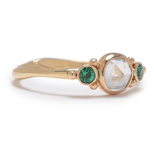 14K SAPPHIRE AND EMERALD RING - Emily Amey Handmade one of a kind jewelry Hudson Valley New York.