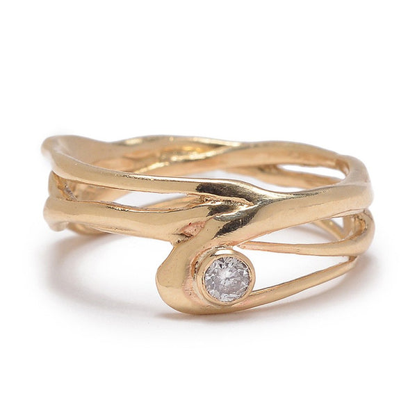 14K OR SS SEAGRASS BAND WITH 1 DIAMOND - Emily Amey Handmade one of a kind jewelry Hudson Valley New York.