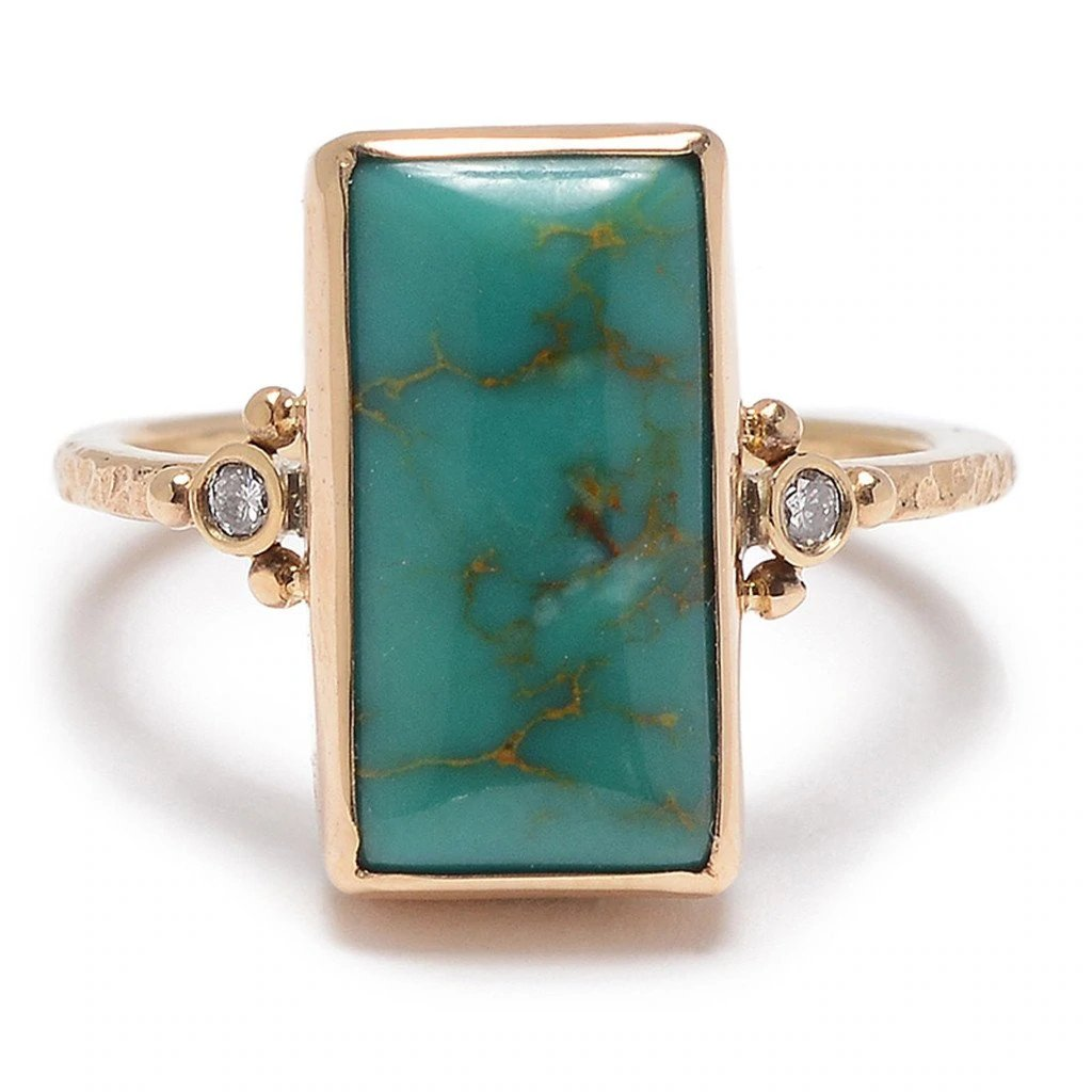 14k ROYSTON TURQUOISE WITH DIAMONDS RING