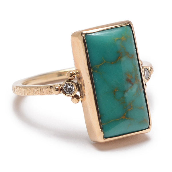 14k ROYSTON TURQUOISE WITH DIAMONDS RING - Emily Amey Handmade one of a kind jewelry Hudson Valley New York.