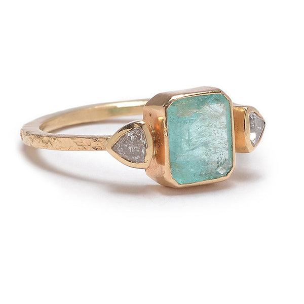 14K PARAIBA TOURMALINE WITH KITE DIAMONDS RING - Emily Amey Handmade one of a kind jewelry Hudson Valley New York.