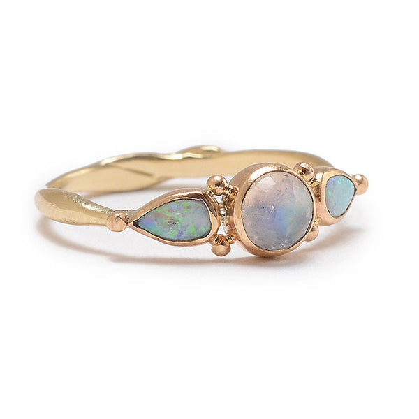 14K MOONSTONE OPAL RING - Emily Amey Handmade one of a kind jewelry Hudson Valley New York.