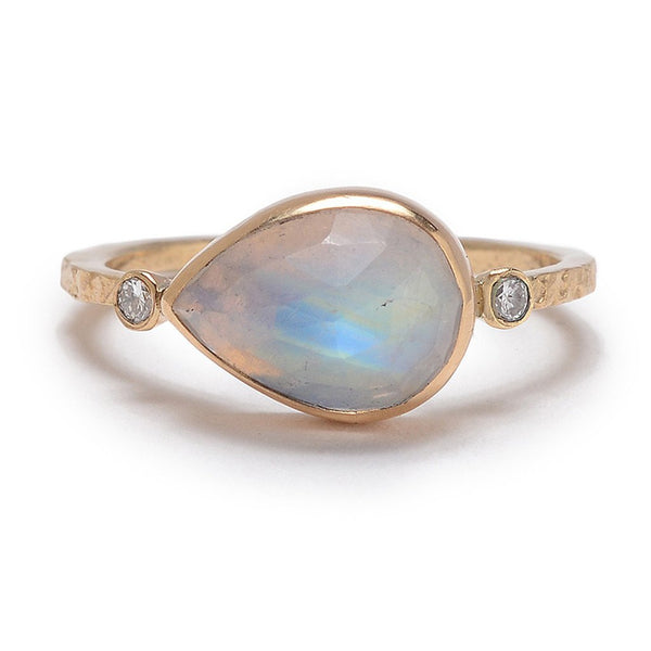 14K MOONSTONE DIAMOND RING - Emily Amey Handmade one of a kind jewelry Hudson Valley New York.