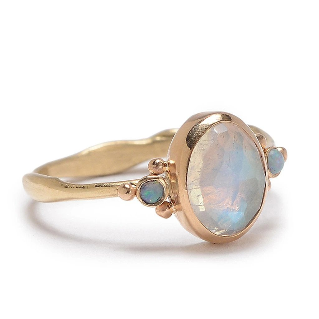 MOONSTONE AND OPAL RING