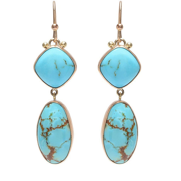 14K SLEEPING BEAUTY DOUBLE TURQUOISE DROPS - Emily Amey Handmade one of a kind jewelry Hudson Valley New York.