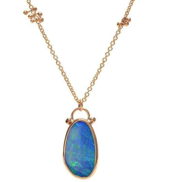 14K BLUE OPAL NECKLACE - Emily Amey Handmade one of a kind jewelry Hudson Valley New York.