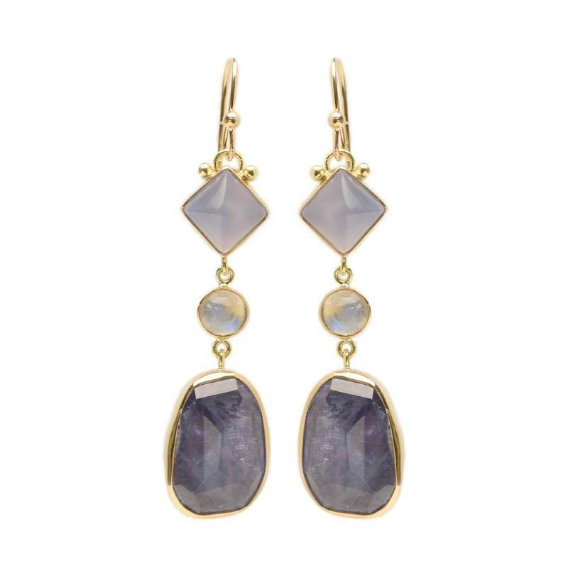 CHALCEDONY, MOONSTONE AND IOLITE DROP EARRINGS.