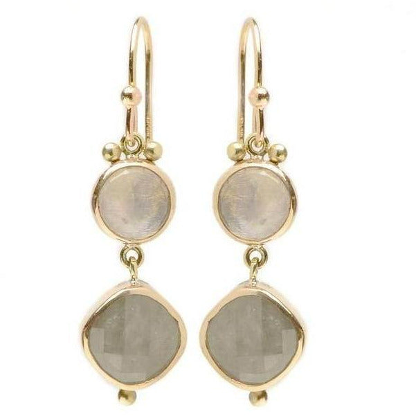 MOONSTONE AND LINEN SAPPHIRE EARRINGS