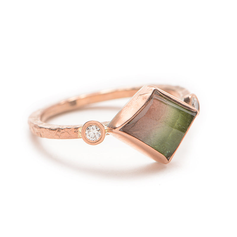 ROSE GOLD WATERMELON TOURMALINE WITH DIAMONDS