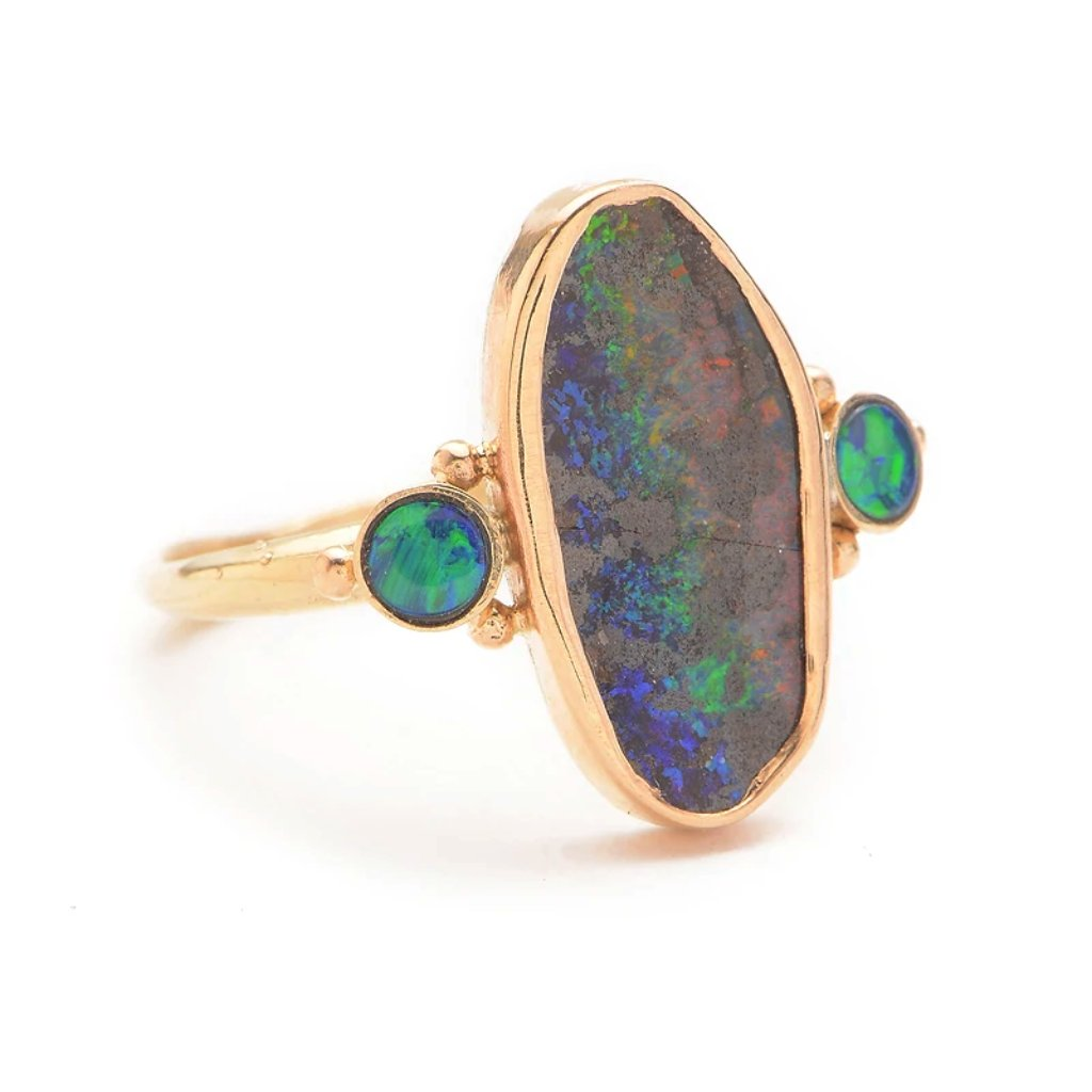14k RAINBOW BOULDER OPAL WITH DOUBLETS