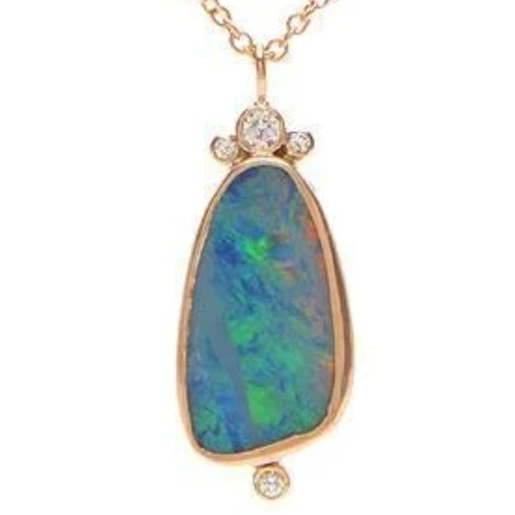 14K BOULDER OPAL AND DIAMONDS NECKLACE