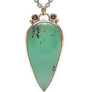 14k SS DENDRITE CHRYSOPRASE WITH BLACK DIAMONDS