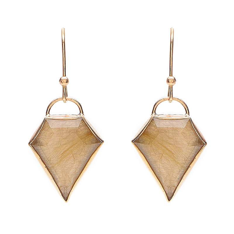 14K RUTILATED QUARTZ SHIELD DROPS