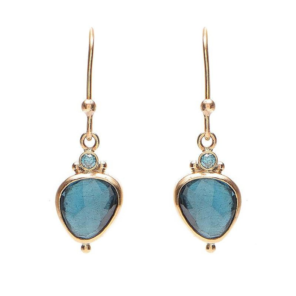14K LONDON BLUE DROPS WITH BLUE DIAMONDS