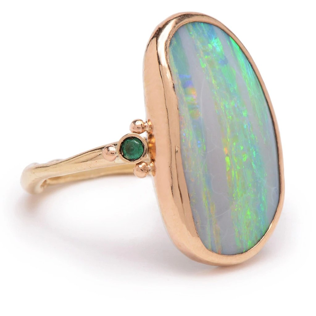 14K WHITE OPAL WITH EMERALDS RING