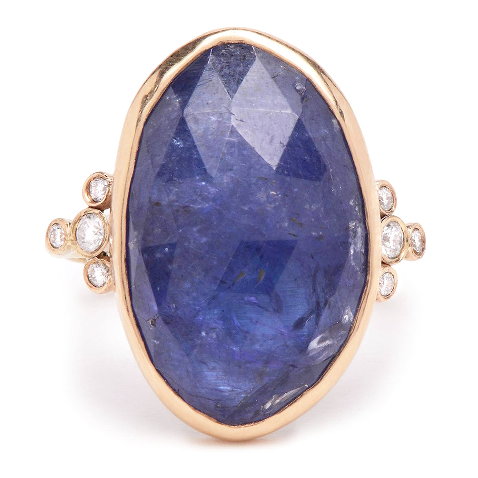 14K TANZANITE AND DIAMONDS RING.