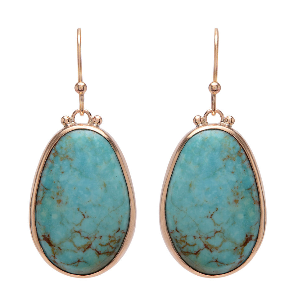 14K LARGE TURQUOISE EARRINGS