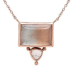 14K ROSEGOLD BI-COLORED TOPAZ WITH MOONSTONE NECKLACE