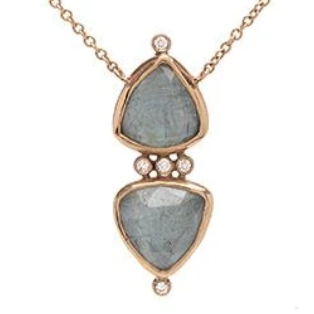 14K AQUAMARINE WITH DIAMONDS NECKLACE