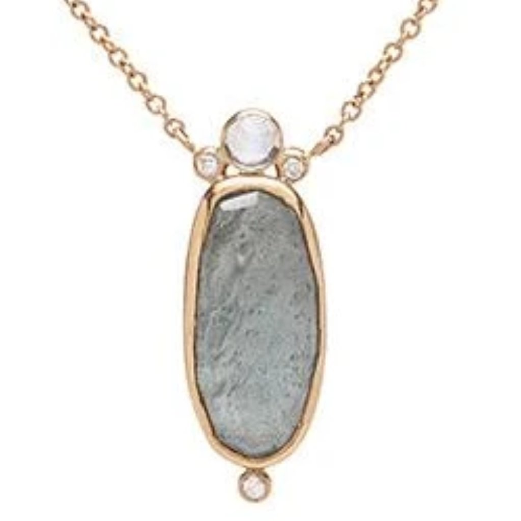 14K AQUAMARINE WITH MOONSTONE AND DIAMONDS NECKLACE